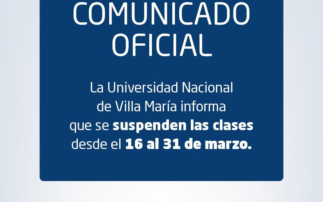 Comunicado oficial de la UNVM: Suspensión de clases