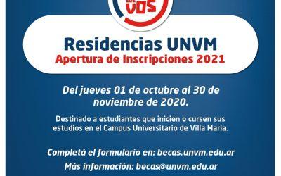 Abrieron las inscripciones para las Residencias de la UNVM 2021